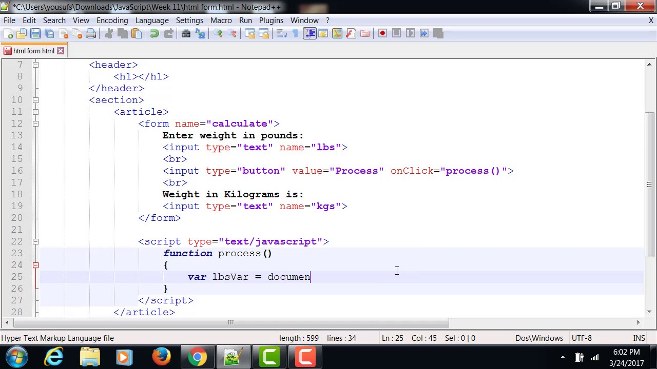 HTML Form and JavaScript onClick Event