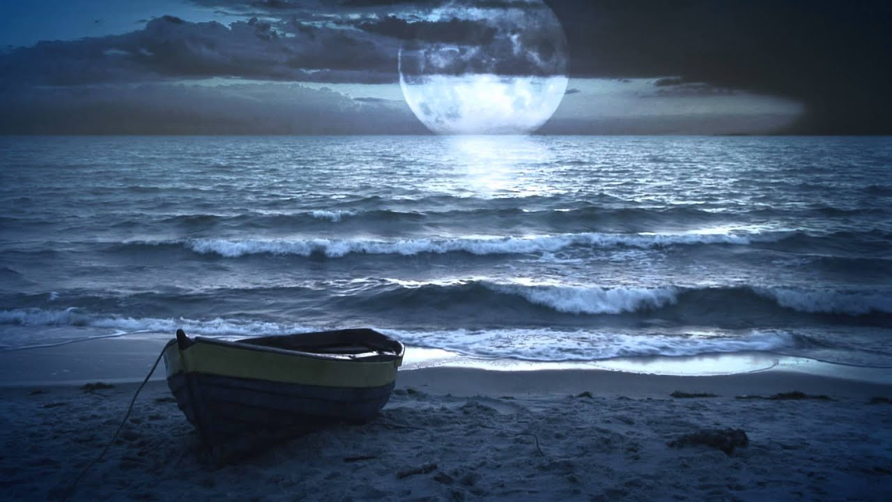 Fantastic Landscape Video Background Moonlight At The Sea Ocean