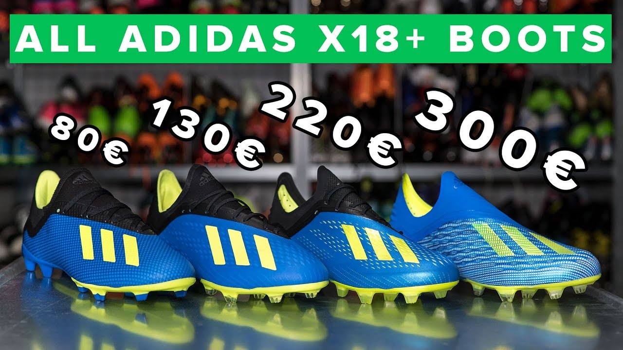 buy online b29db 70572 CHEAP vs EXPENSIVE | All adidas X18 football boots explained - 18+, 18.1,  18.2 & 18.3