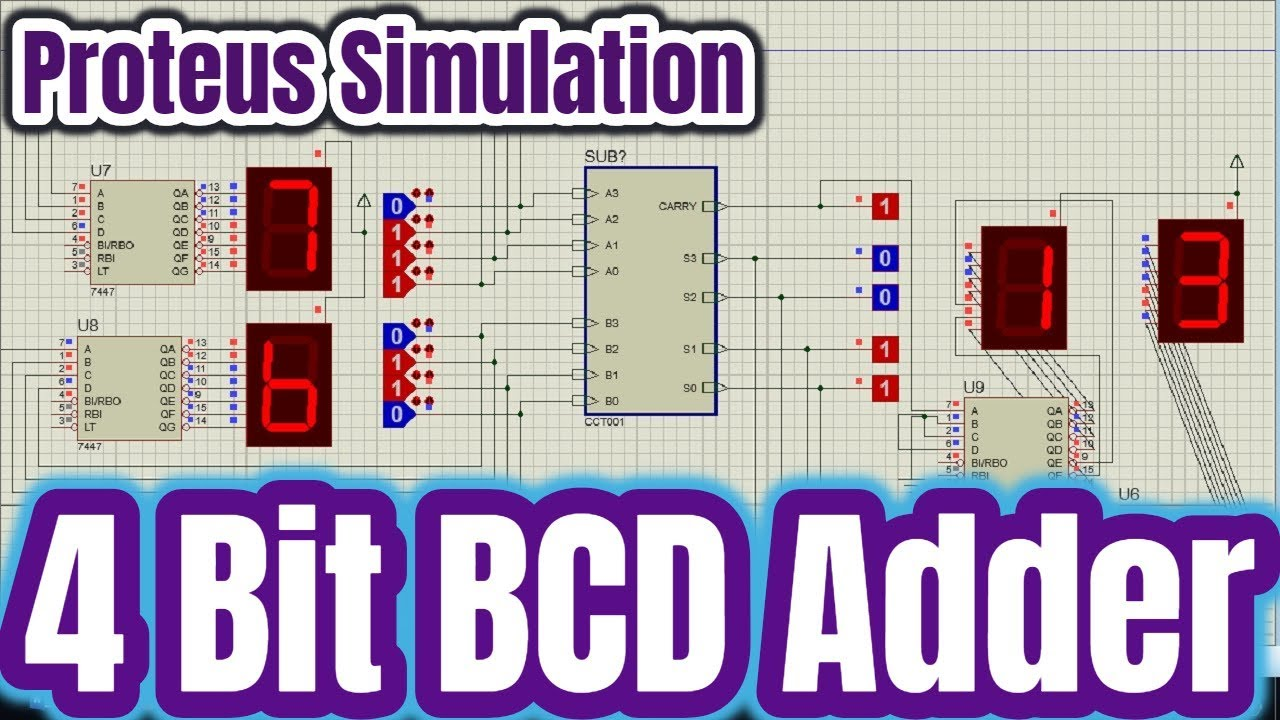 how to design 4 bit bcd adder visualized by 7 segment display tutorial 01 [ 1280 x 720 Pixel ]