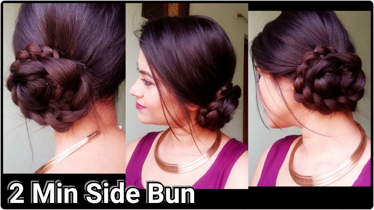 2 Min Side Bun Indian Hairstyles For Saree For Medium To