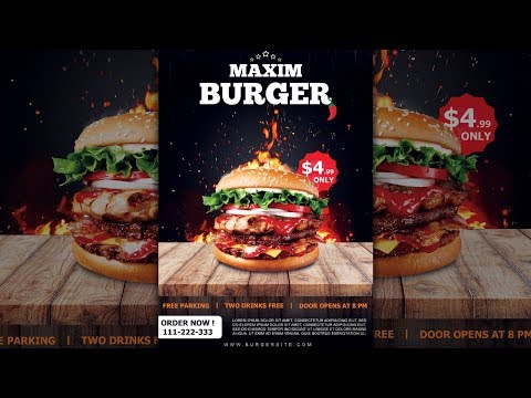 How to Design a Burger Restaurant Flyer / Poster in Photoshop thumbnail