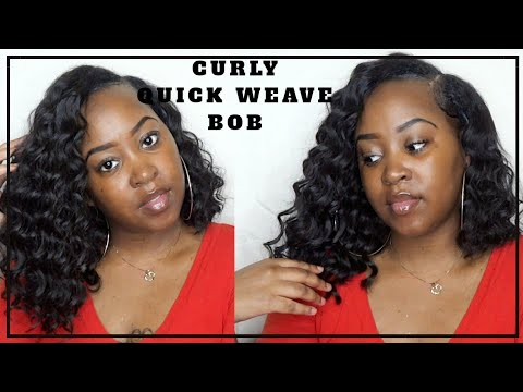 Curly Quick Weave Messy Bob