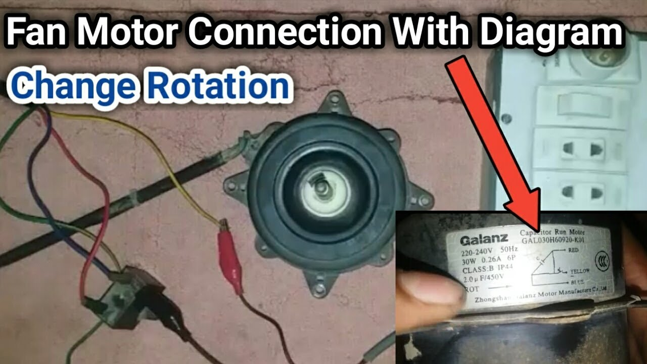 fan motor ac connection with diagram and change rotation in urdu hindi [ 1280 x 720 Pixel ]