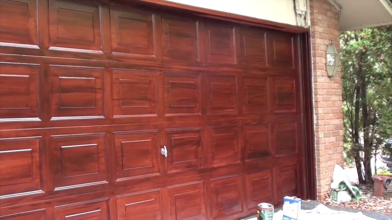 Faux Painting Mahogany Garage Door
