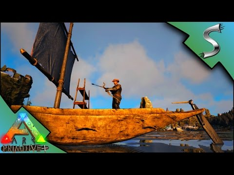 SAILBOAT AND RECURVE BOW! FIRE ARROWS! - Ark: Primitive Plus [Gameplay E5]