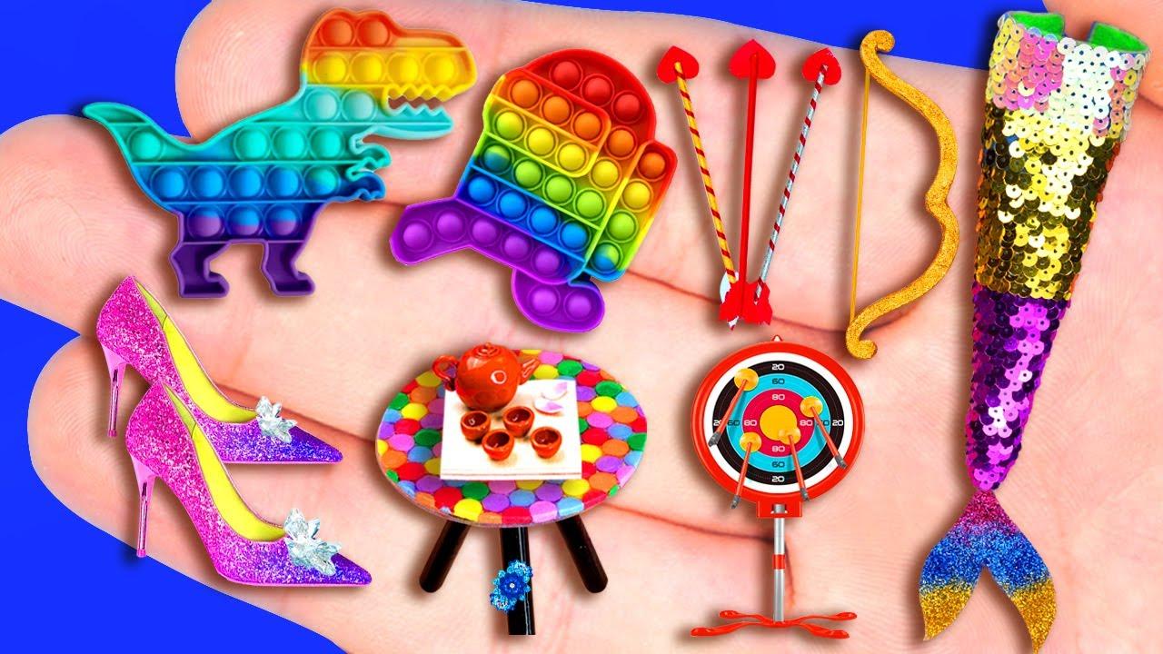 29 EASY MINIATURE CRAFTS IDEAS FOR DOLLHOUSE BARBIE ~ Pop It, Archery, Tea Table, Glass Shoes