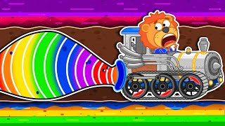 Lion Family 🐛 Journey to the Center of the Earth #53. Rainbow Worms Cartoon for Kids