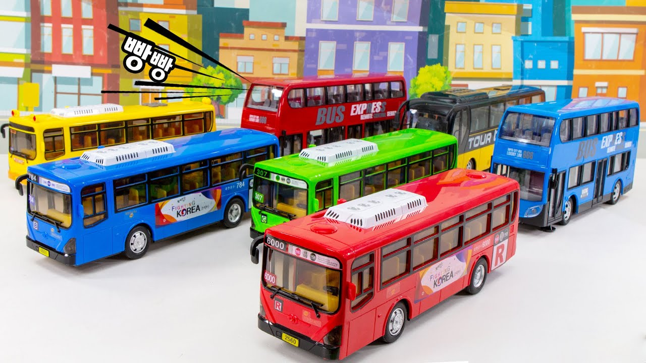 Let's take the city bus to tour Red bus, green bus, blue bus  Which bus should I take