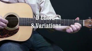 Download Acoustic guitar lesson D CHORD 8 VARIATIONS!!! MP3 song and Music Video