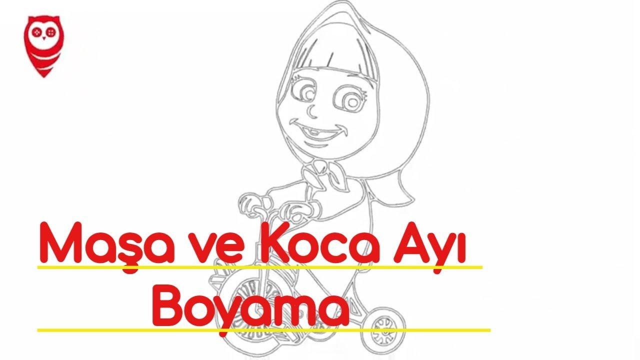 Maşa Ve Koca Ayı Bisikletli Boyama Ve çizim Sayfası çocuklar Için
