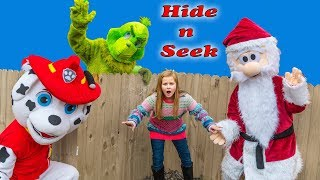 Assistant Plays Holiday Hide N Seek with the Grinch and Paw Patrol and PJ Masks
