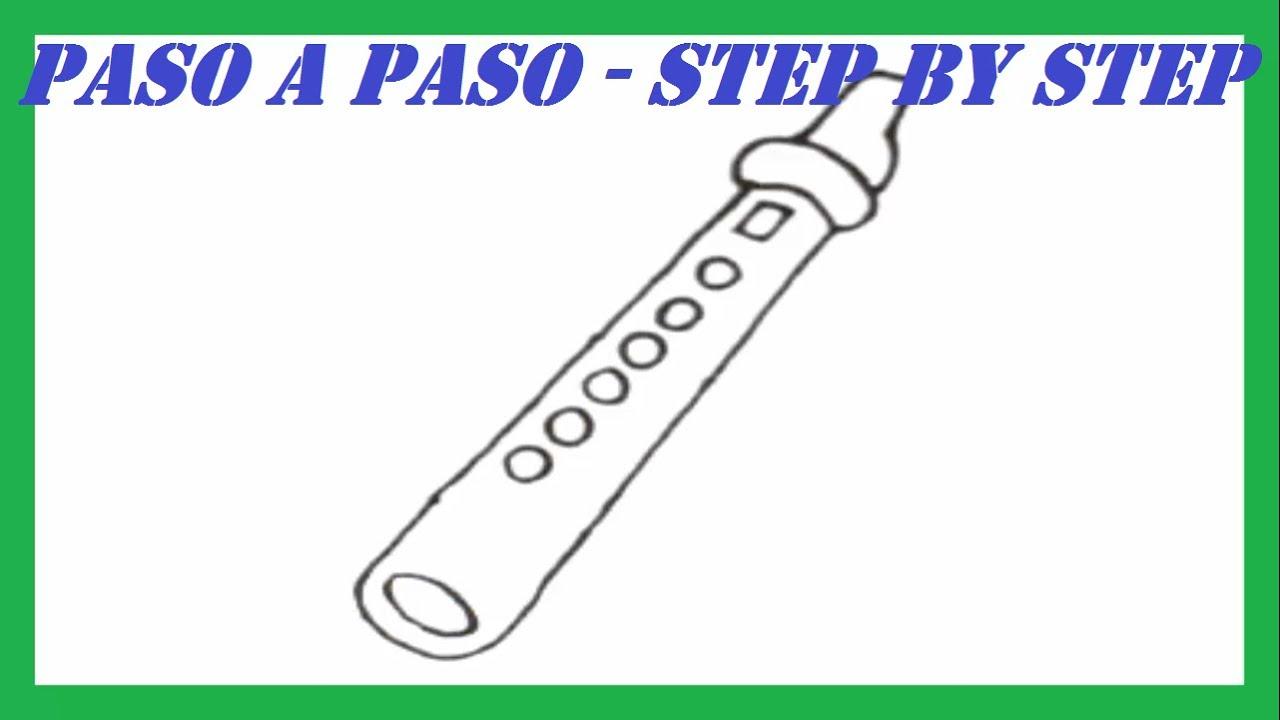 Como dibujar una flauta paso a paso l how to draw a flute - Como hacer un estor enrollable paso a paso ...