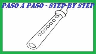 Como dibujar una Flauta paso a paso l How to draw a Flute step by step