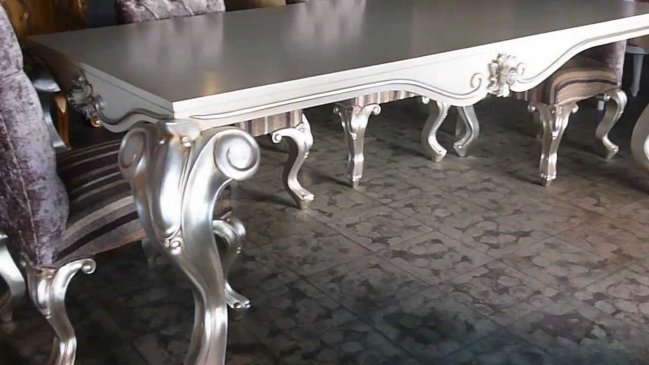 Tiara Dining Table Silver Leaf