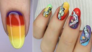 Ну очень яркие ногти Градиент гель лаком Радужные ногти Маникюр 2020 Текстура на ногтях
