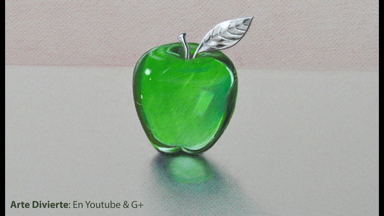 Cómo dibujar vidrio:una manzana de cristal y/o acrílico verde - Arte ...