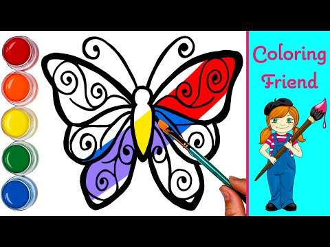 Butterfly Coloring to Learn Colors | Coloring Videos for Kids