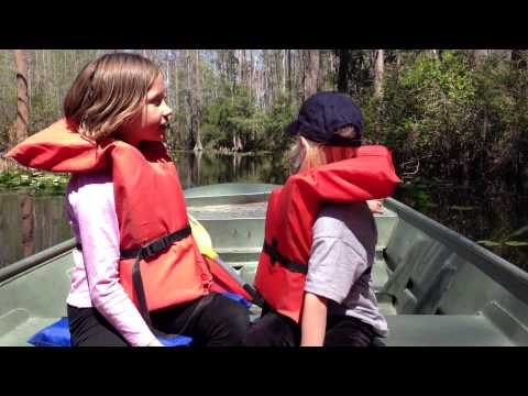 Girls Talking About Alligators in the Okeefenokee on the Suwanee River