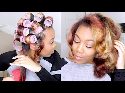 How To | ❀Soft Sexy Heatless Roller Set Curls On Natural Hair❀