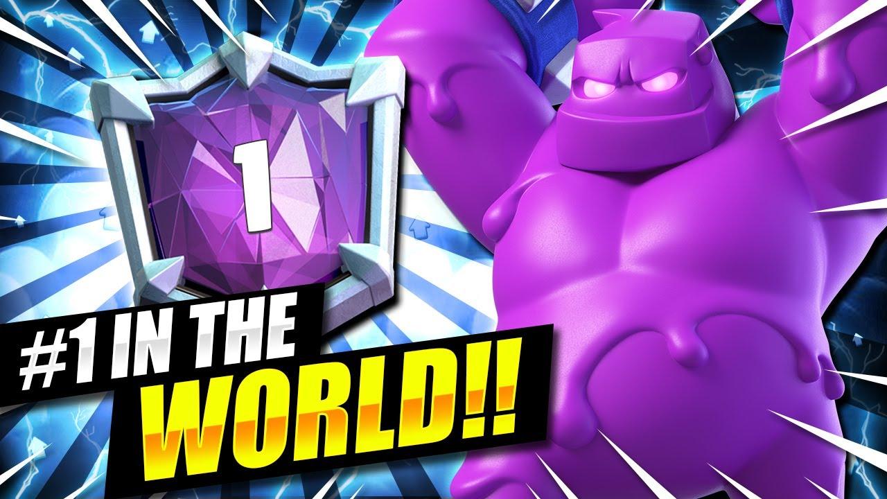 WORLD'S MOST TOXIC DECK FINISHES #1 IN THE WORLD!! ELIXIR GOLEM OP!! Clash Royale Elixir Golem Deck