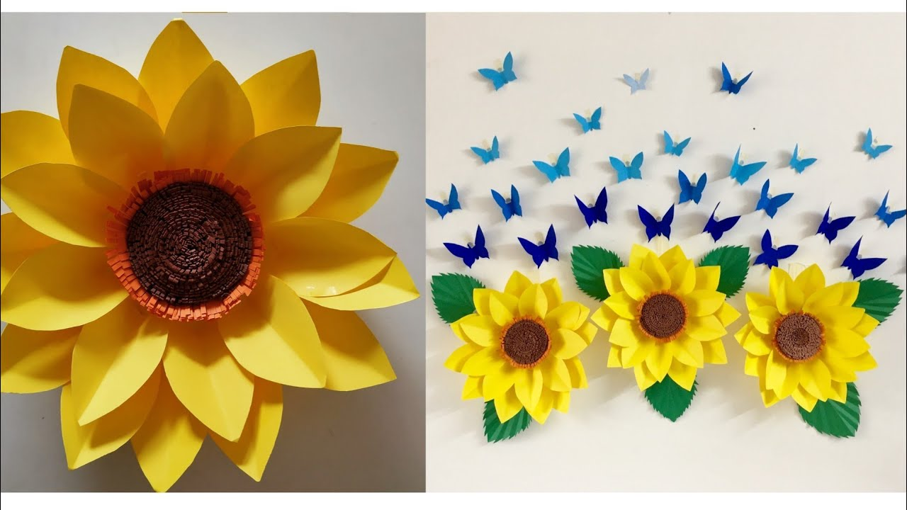 Giant Paper Sunflower DIY | Paper Sunflower Wall hanging ...