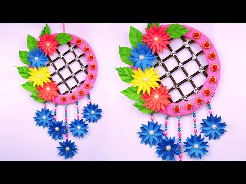 DIY: Paper Flower Wall Decoration Idea with Wool at Home - Amazing Wall Hanging Ideas - Paper Craft