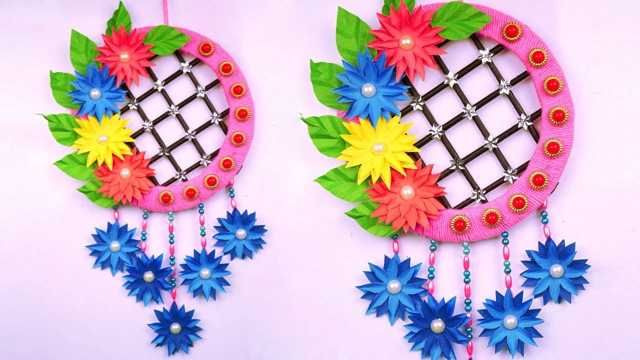 Diy Paper Flower Wall Decoration Idea With Wool At Home Amazing