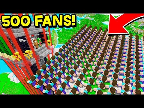 500 FANS VS THE WORLD'S TALLEST SECURE MINECRAFT HOUSE...