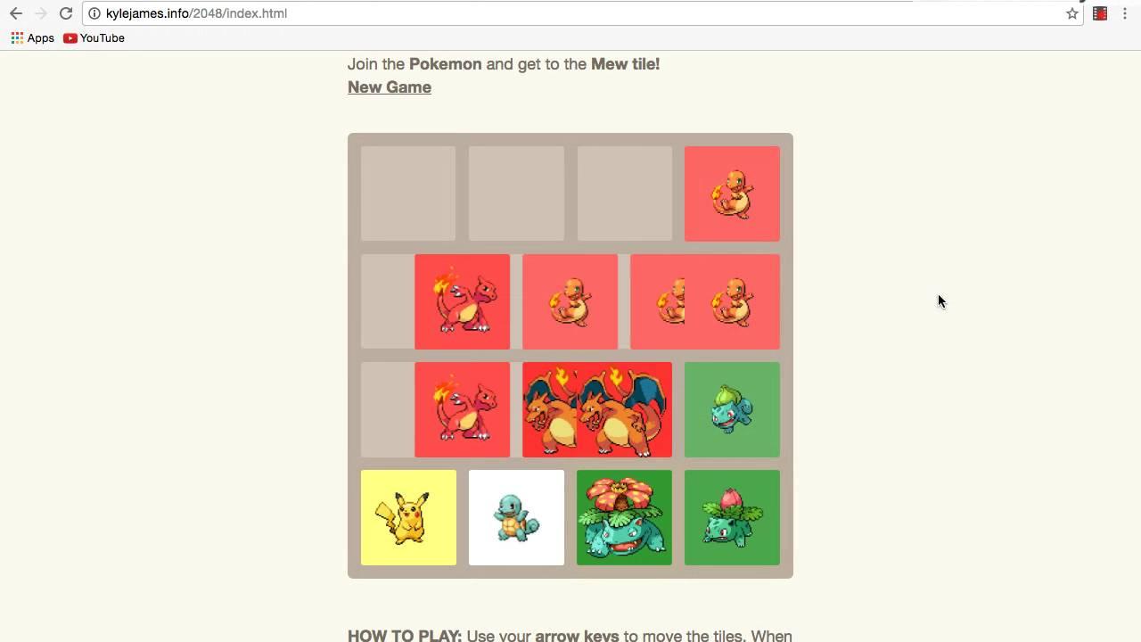 Pokemon 2048 game