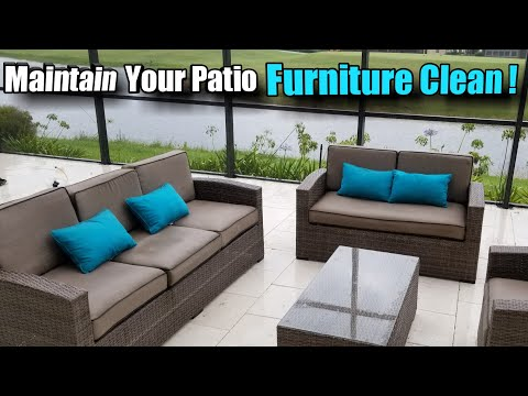 Part 1. Cleaning patio cushions sofas. Pre-treat and scrub