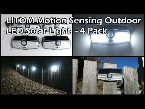 LITOM Motion Sensing Solar Powered 30 LED Outdoor Lights  4 Pack