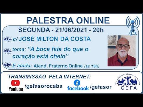 Assista: Palestra Online - c/ JOSÉ MILTON DA COSTA (21/06/2021)
