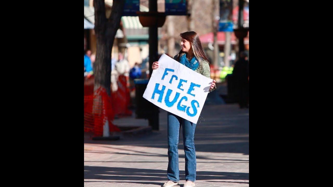 Free Hugs By Beautiful Woman - YouTube