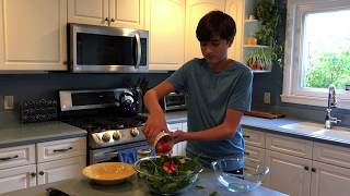 Making Spinach and Strawberry Salad with Ty From Dirt to Dishes