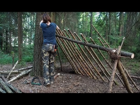 Building A Primitive Shelter With Modern Tools (Part 1)