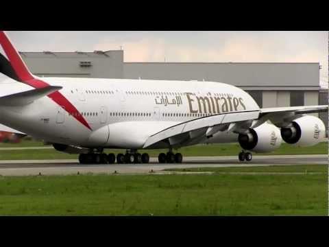 Hamburg - Airbus A380 Landing and Take Off at Airport Hamburg-Finkenwerder ( XFW )