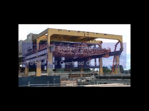 Bradwell Nuclear Power Station Turbine Hall demolition inc crane