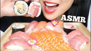 ASMR SALMON SASHIMI + FATTY TUNA ROLL + NIGIRI SUSHI (EATING SOUNDS) NO TALKING | SAS-ASMR