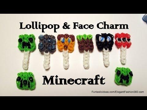 rainbow-loom-minecraft-creeper-lollipop-and-face-charm---how-to