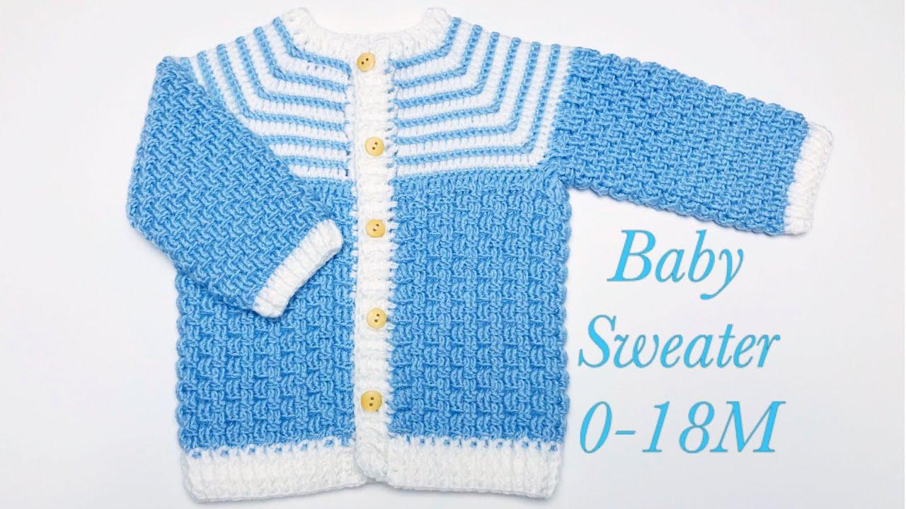 Crochet baby Cardigan, Crochet Jacket,  Crochet Coat, Crochet Basket Weave Stitch, Crochet for Baby