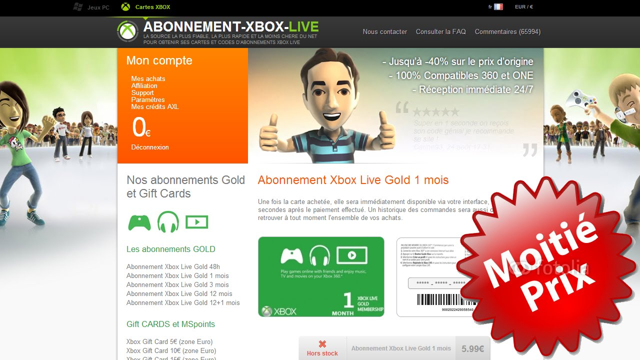 tuto comment avoir du xbox live gold des cartes. Black Bedroom Furniture Sets. Home Design Ideas