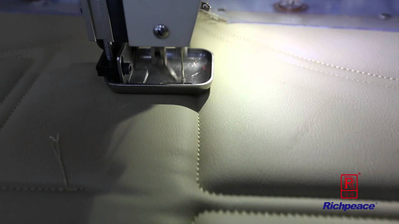 20141111 Richpeace Auto Sewing Machine to sew car seat (leather & foam)  With auto lifting head