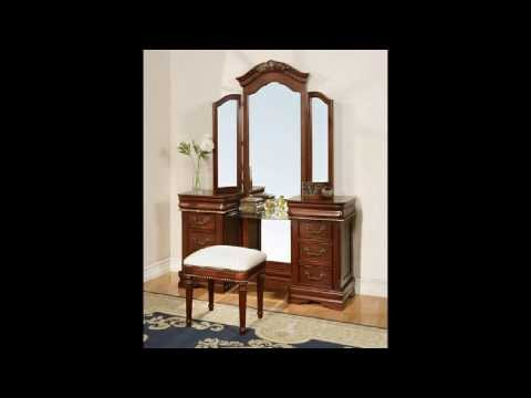 3 pc Classique collection cherry brown finish wood make up vanity dressing table