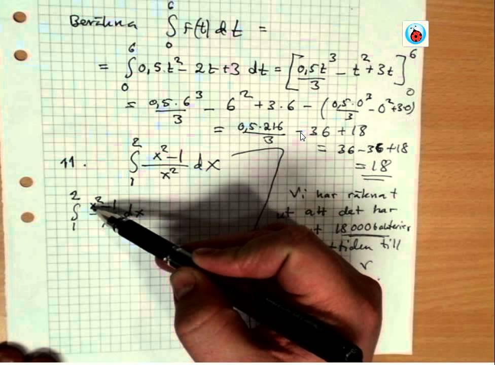 Ma3c Repetitionsuppgifter inför prov på integraler del 2