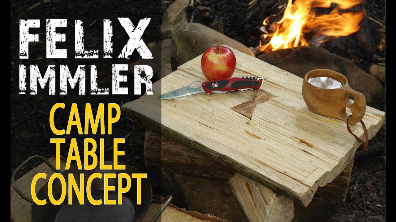 Great camp table concept with primitive boards from a splitted log