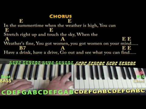 In the Summertime (Mungo Jerry) Piano Cover Lesson in E with Chords/Lyrics