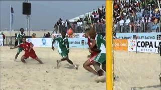 Overhead kick goal for Lebanon v Nigeria in beach soccer clash!
