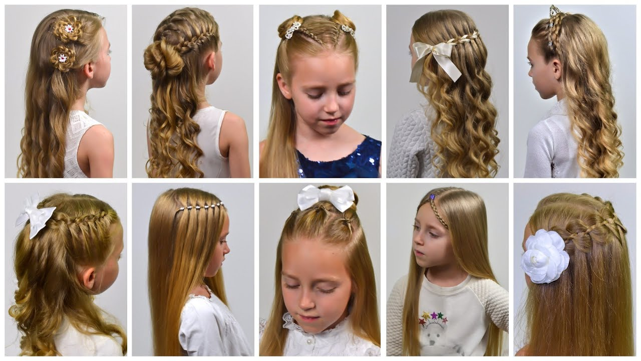 10 Holiday Hairstyles Half Up Half Down Hairstyles For Long Hair By Littlegirlhair Youtube