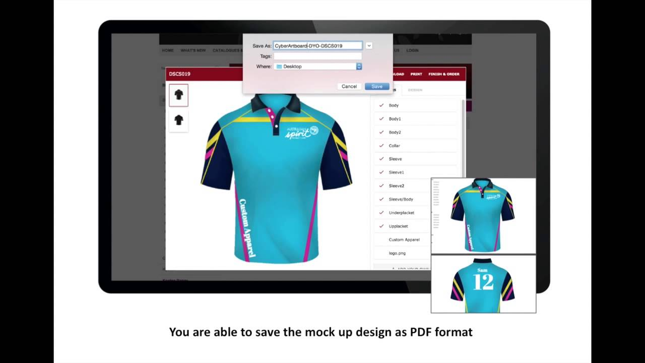 Design your own t-shirt and save it - Cyber Artboard Design Your Own Teamwear